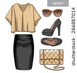 lady fashion set of summer... | Shutterstock .eps vector #286887014