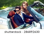 sexy couple in the car. luxury... | Shutterstock . vector #286892630