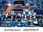 Closeup on electronic board in...