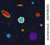 space pattern with planets and... | Shutterstock . vector #286908050