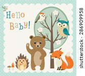 baby shower design with cute... | Shutterstock .eps vector #286909958