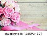 flowers over grunge wooden... | Shutterstock . vector #286934924