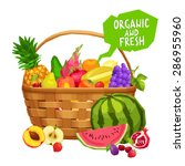 fresh and organic fruits in... | Shutterstock .eps vector #286955960