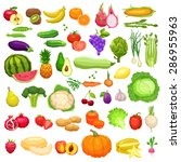 vegetables and fruits big icons ... | Shutterstock .eps vector #286955963