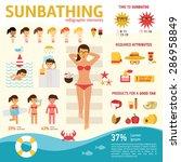 the girl sunbathes on the beach ... | Shutterstock .eps vector #286958849