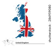 Map Of United Kingdom With Flag ...
