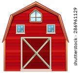 red wooden barn on a white... | Shutterstock .eps vector #286961129