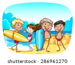 group of teenagers at the beach ... | Shutterstock .eps vector #286961270