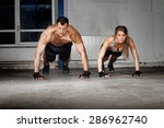 push up exercise man and woman | Shutterstock . vector #286962740