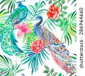 beautiful peacock pattern.... | Shutterstock . vector #286964660