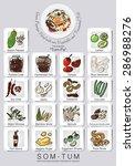 ingredients set of papaya salad ... | Shutterstock .eps vector #286988276