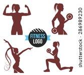 fitness logo set. elegant women ... | Shutterstock .eps vector #286989230