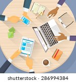 business hands tablet laptop... | Shutterstock .eps vector #286994384