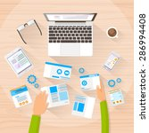 web designer work space... | Shutterstock .eps vector #286994408