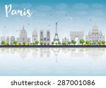 paris skyline with grey... | Shutterstock .eps vector #287001086