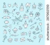 hand drawn color birthday set | Shutterstock .eps vector #287002550