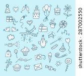 hand drawn color birthday set | Shutterstock .eps vector #287002550