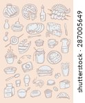 food hand drawn color set | Shutterstock .eps vector #287005649