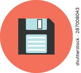 flat vector icon of floppy for...