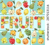 collection of cute fruits | Shutterstock .eps vector #287013116