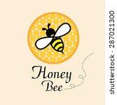 Bee On Honeycomb Label....