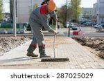 construction worker grouting... | Shutterstock . vector #287025029