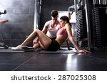 a young man and a young woman... | Shutterstock . vector #287025308