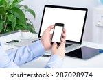 male hands using smartphone... | Shutterstock . vector #287028974