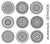 a set of beautiful mandalas and ... | Shutterstock .eps vector #287042330