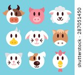 farm animals faces icons set.... | Shutterstock .eps vector #287051450