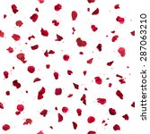 seamless  red rose petals  with ... | Shutterstock . vector #287063210