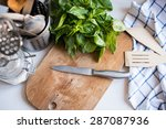 a bunch of basil on the board... | Shutterstock . vector #287087936