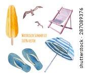 watercolor beach vacation set.... | Shutterstock .eps vector #287089376