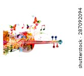 colorful violoncello with... | Shutterstock .eps vector #287092094