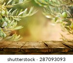 Stock photo olives with table wooden table with olive trees 287093093