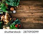 vegetables on wood. bio healthy ... | Shutterstock . vector #287093099