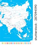 asia map   highly detailed... | Shutterstock .eps vector #287094590