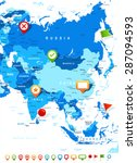 asia   map and navigation icons ... | Shutterstock .eps vector #287094593
