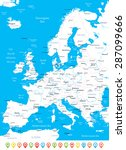 europe   map  navigation icons  ... | Shutterstock .eps vector #287099666
