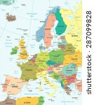 europe map   highly detailed... | Shutterstock .eps vector #287099828