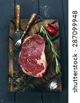 raw fresh meat ribeye steak ... | Shutterstock . vector #287099948