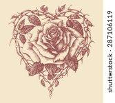 Heart Rose Vector Illustration