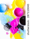 jars with a paint on a white... | Shutterstock . vector #287110040