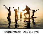 group of happy friends jumping... | Shutterstock . vector #287111498