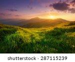 mountain valley during sunrise. ... | Shutterstock . vector #287115239