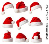 santa claus hats isolated on... | Shutterstock . vector #287125769