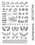 huge hipster set hand drawn... | Shutterstock . vector #287135744