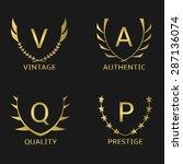 golden business logo set ...   Shutterstock .eps vector #287136074