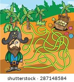 vector maze game   funny pirate ... | Shutterstock .eps vector #287148584