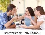 discussion of three angry... | Shutterstock . vector #287153663